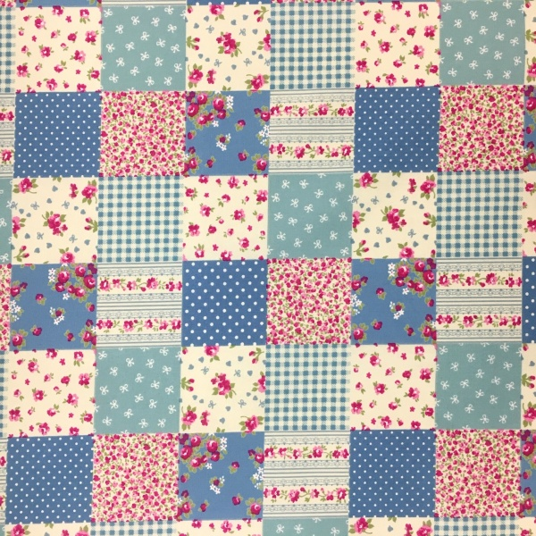 100% Cotton PATCHWORK SKY BLUE