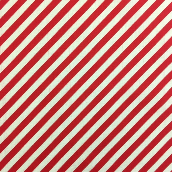 Christmas Polycotton RED CANDY STRIPE