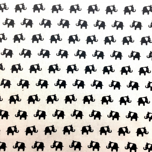100% Cotton BLACK ELEPHANTS