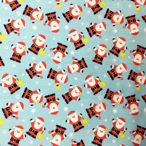Christmas Polycotton SANTA ON SKY BLUE 2