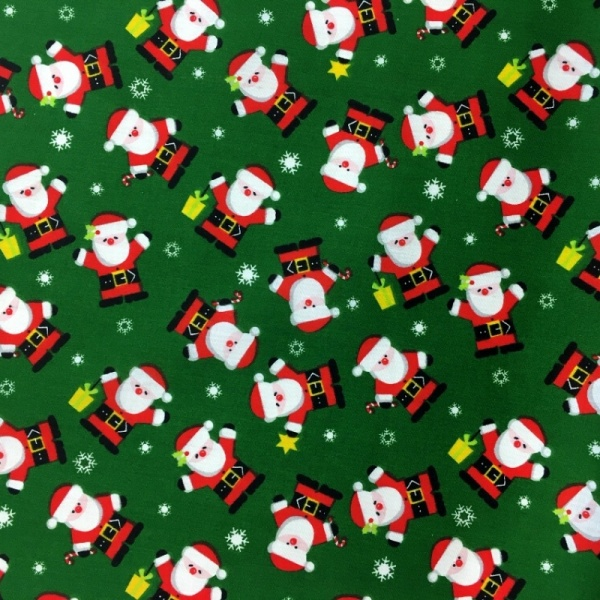 Christmas Polycotton SANTA ON GREEN 2