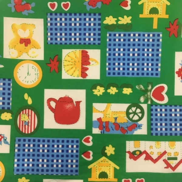 100% Cotton Teddy Bears Picnic GREEN
