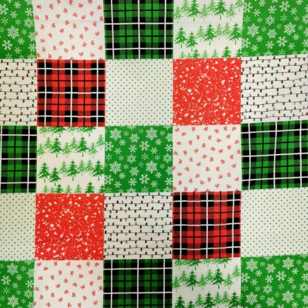 Christmas Polycotton PATCHWORK 1