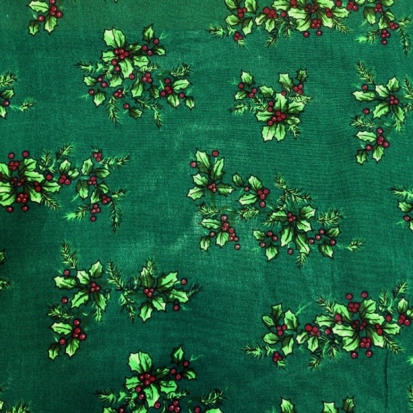 Christmas Polycotton HOLLY ON GREEN