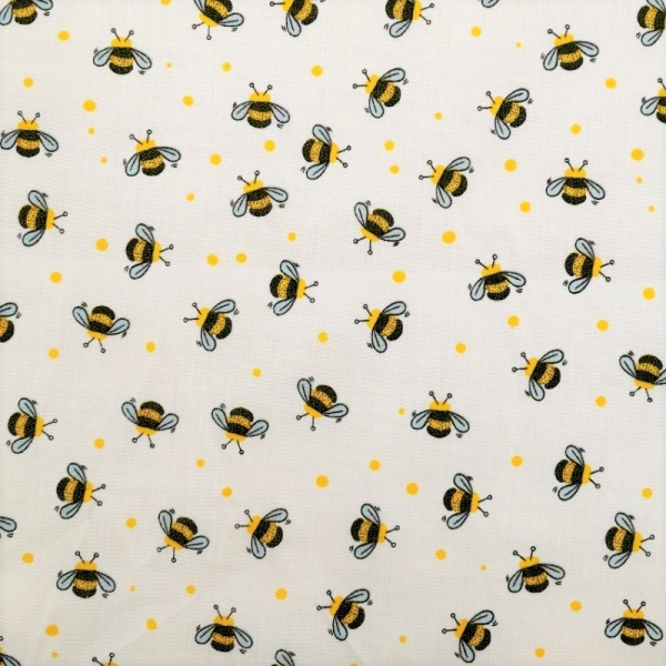 Bees on White Polycotton