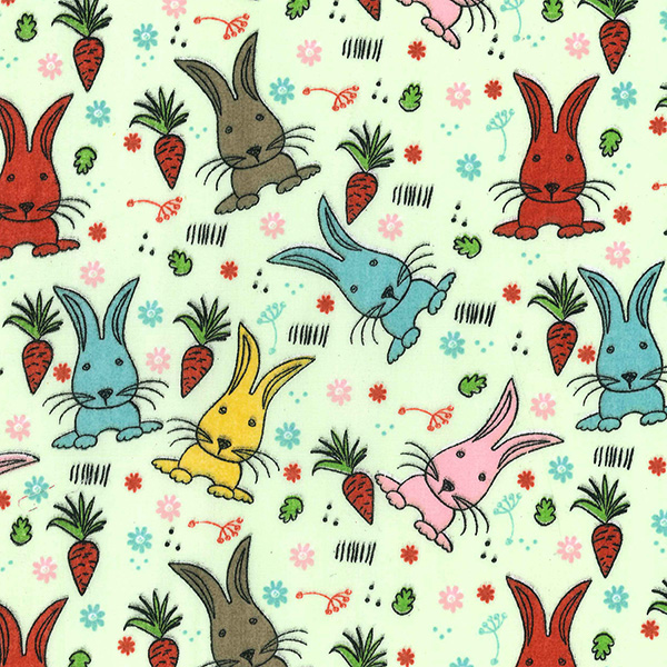Multi Rabbits Polycotton on GREEN