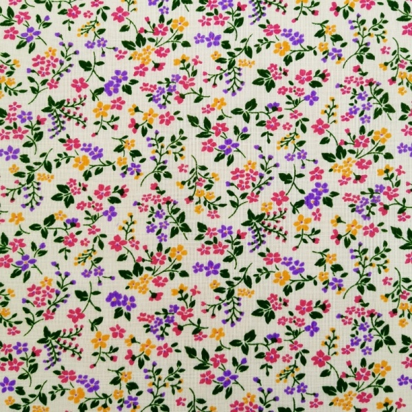 Small Multi Floral on White Polycotton