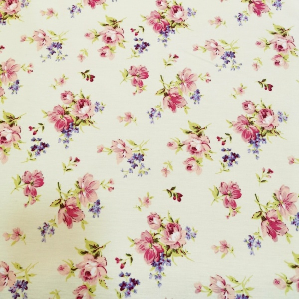 Floral Poplin Design 27 Pink Flowers on Ivory