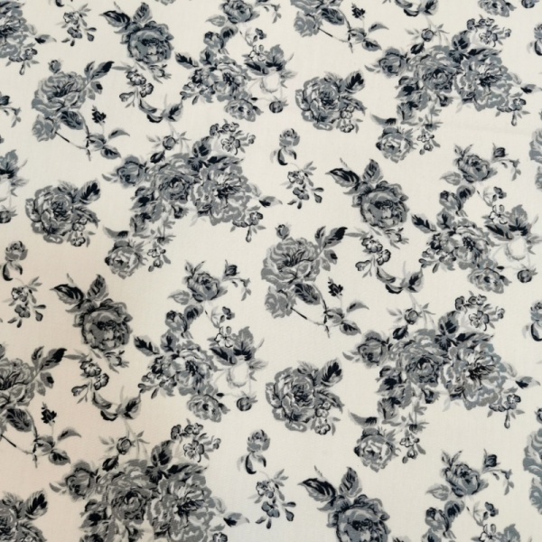 Floral Poplin Design 26 GREY FLORAL on IVORY