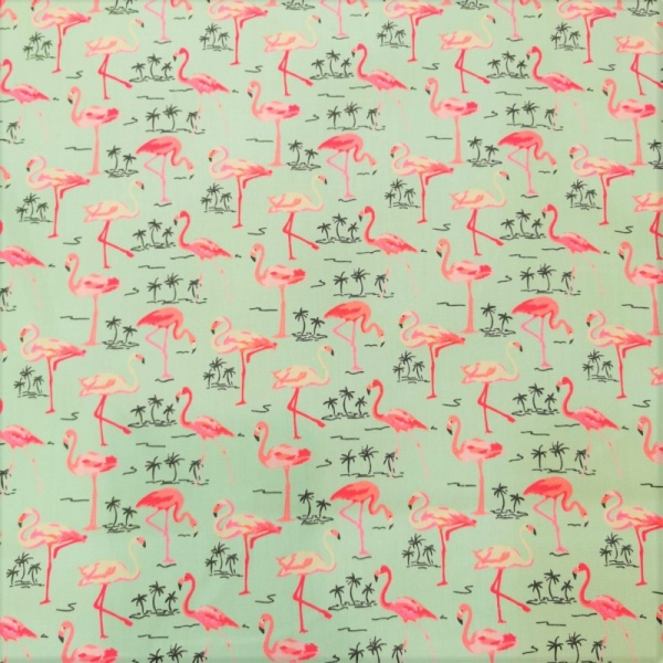 100% Cotton FLAMINGOS on GREEN
