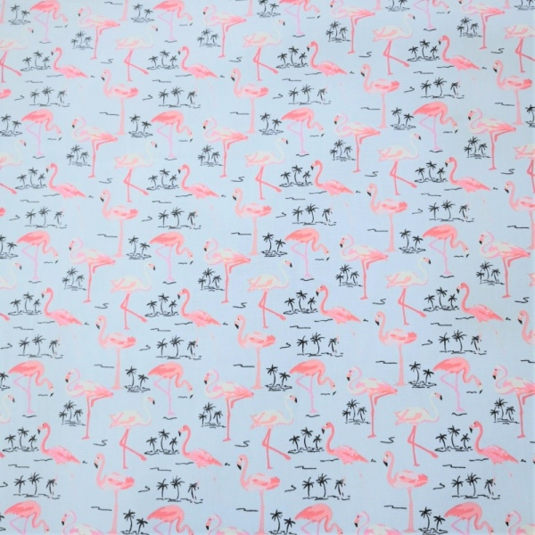 100% Cotton FLAMINGOS on SKY BLUE