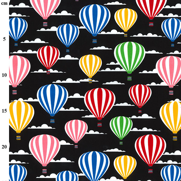 100% Cotton HOT AIR BALLONS BLACK