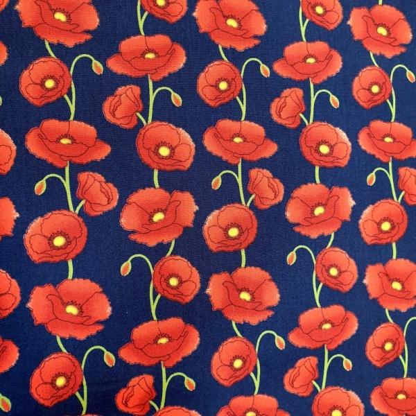Floral Poplin Design 25 RED POPPIES ON NAVY