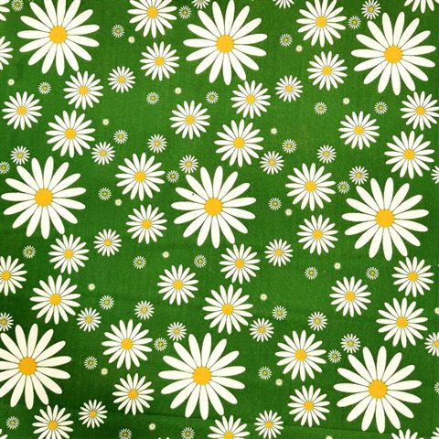 Daisies Polycotton - Green