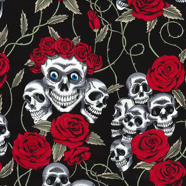 100% Cotton SKULLS & ROSES on BLACK