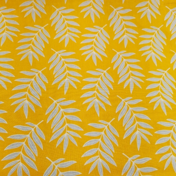 100% Cotton - FERNS ON MUSTARD