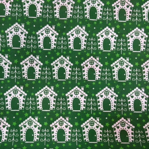 Christmas Polycotton HOUSE ON GREEN