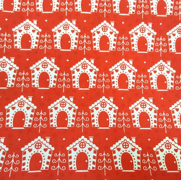 Christmas Polycotton HOUSES ON RED