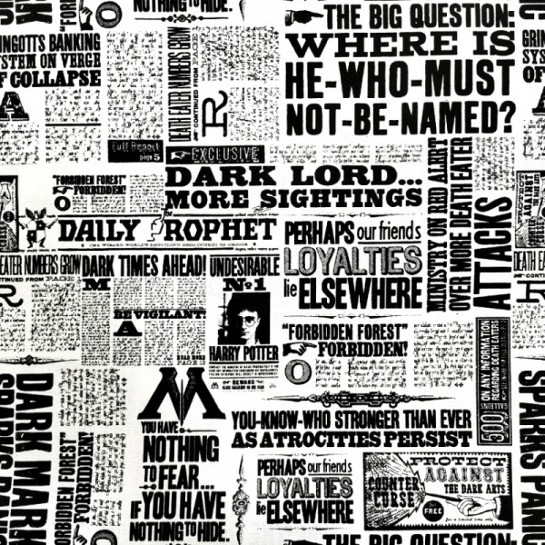 Harry Potter - Newsprint 100% Cotton