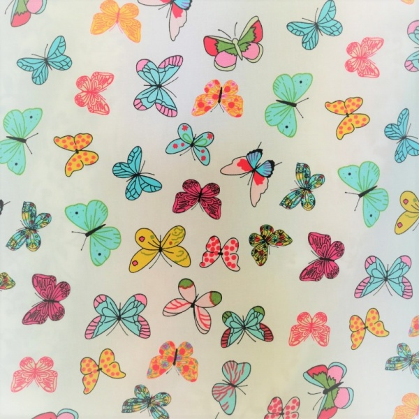 100% Cotton Butterflies on Ivory