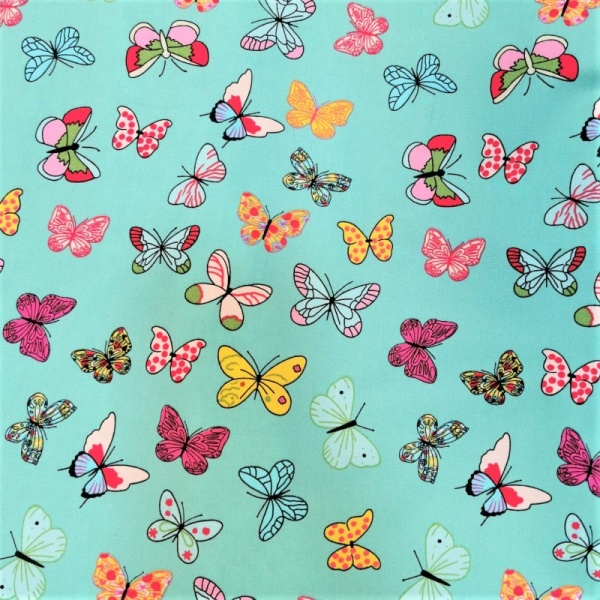 100% Cotton Butterflies on Turquoise