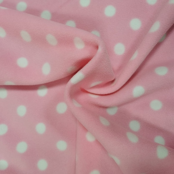 Anti Pill Fleece Fabric - White Spot on Baby Pink