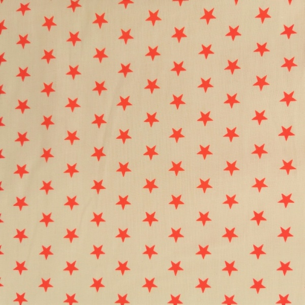 Polycotton 1cm Stars Red