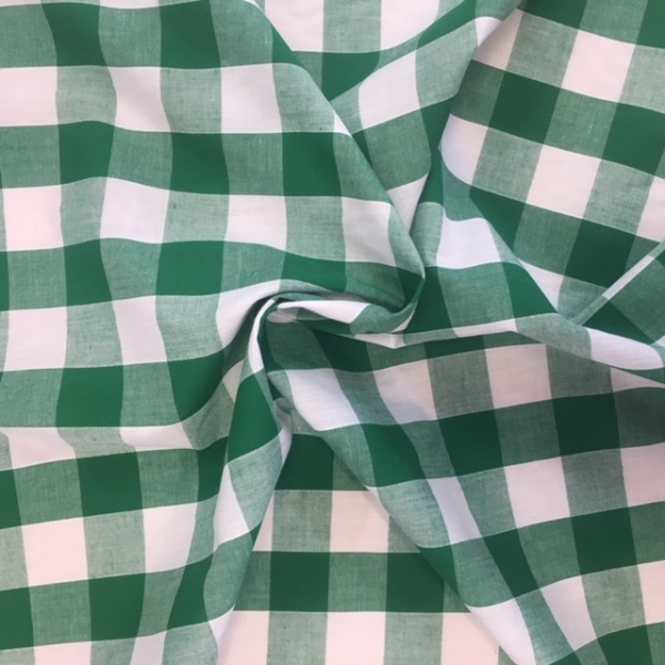 1'' Polycotton Gingham EMERALD GREEN