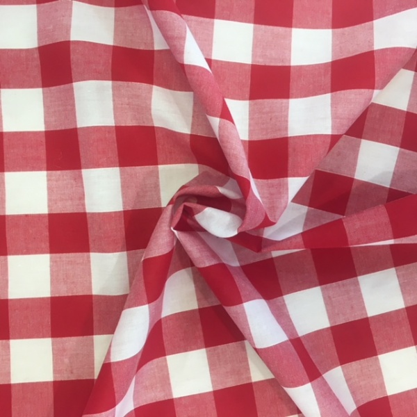 1'' Polycotton Gingham RED