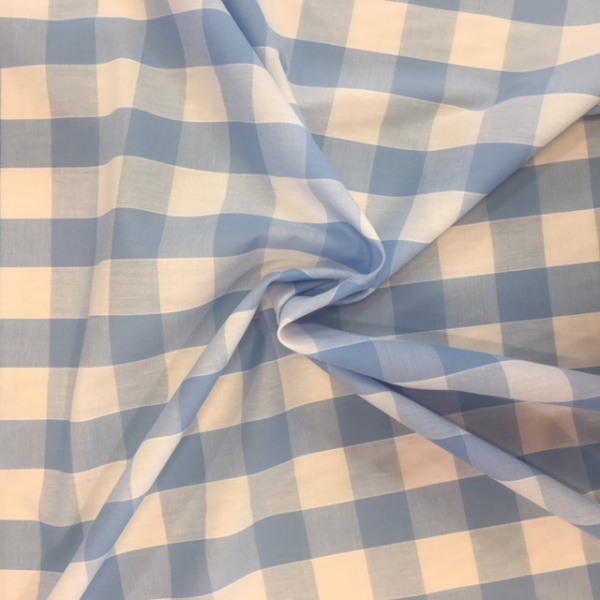 1'' Polycotton Gingham Sky Blue