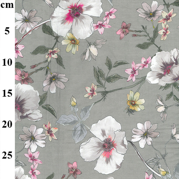 100% Cotton Lawn Design 1 GREY FLORAL