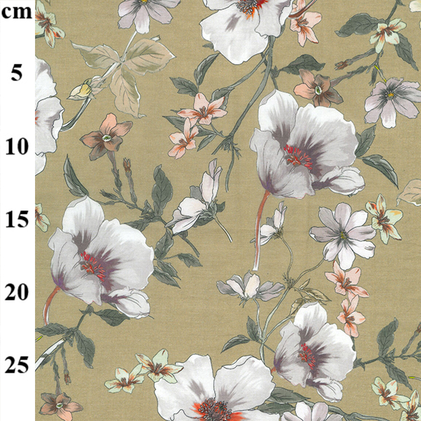 100% Cotton Lawn Design 1 TAUPE FLORAL