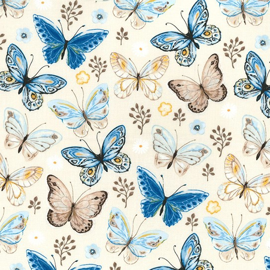 100% Cotton BUTTERFLIES - CREAM