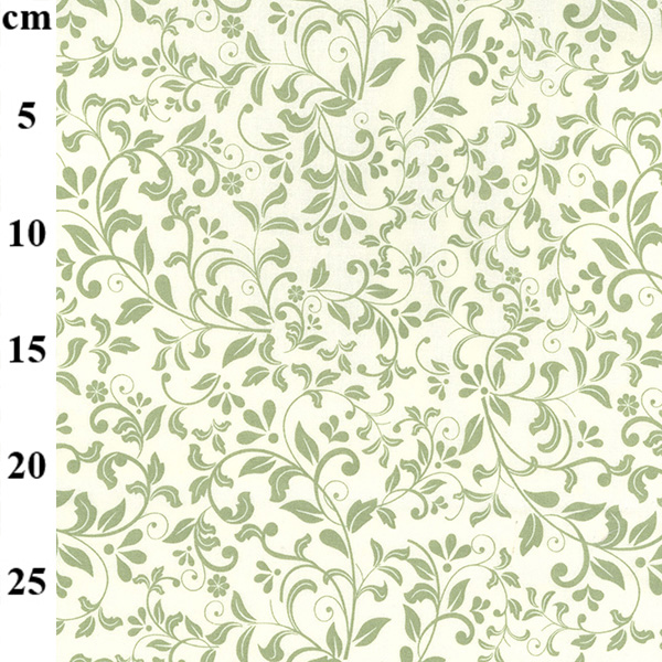 100% Floral Cotton IVORY-GREEN