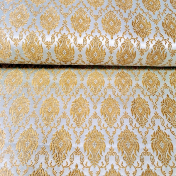 Regal Brocade GOLD on AQUA