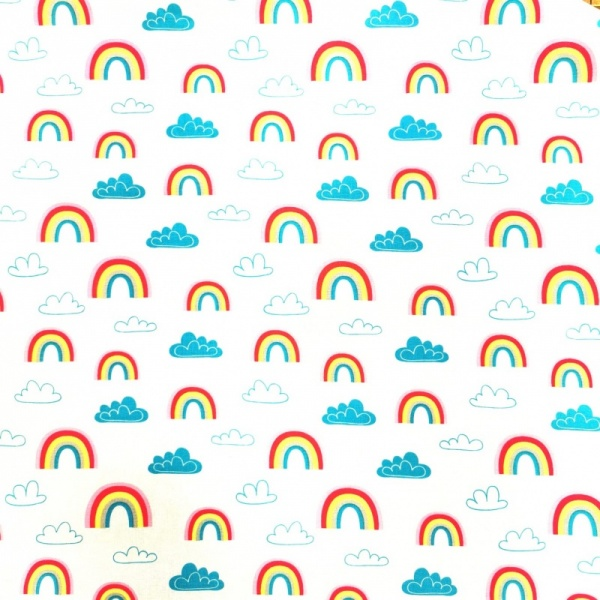 100% Cotton - RAINBOWS & CLOUDS