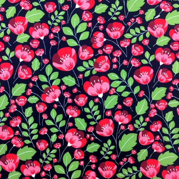 Floral Poplin Design 8 Navy/Red