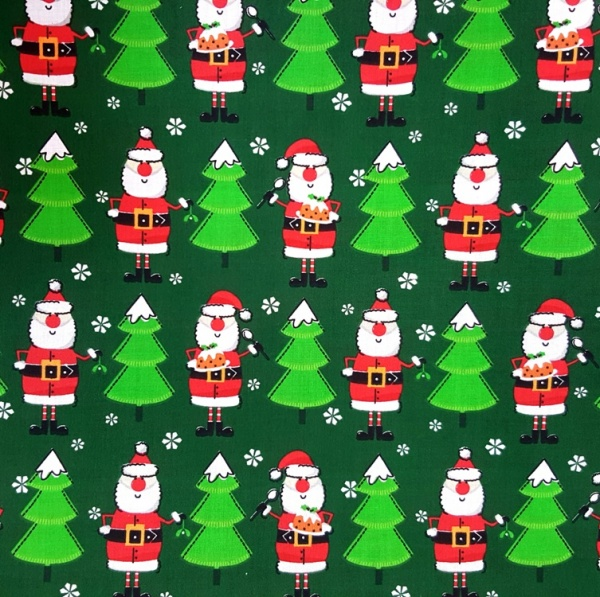 Christmas Polycotton SANTA ON GREEN