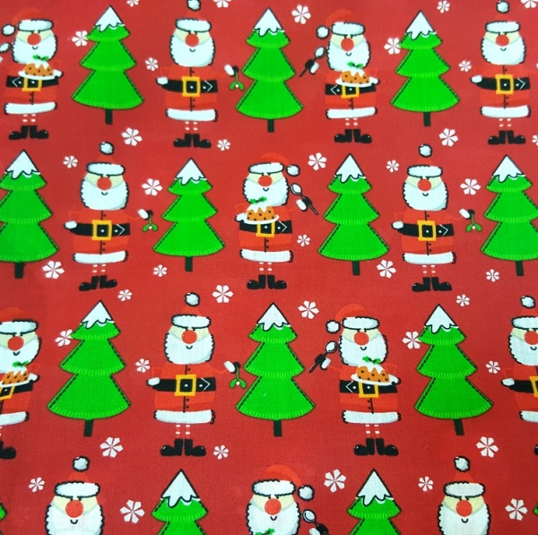 Christmas Polycotton SANTA ON RED