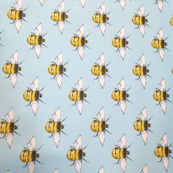 100% Cotton BEES on SKY BLUE