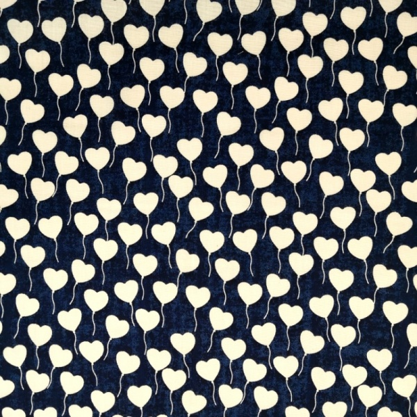 White on Navy Hearts Polycotton