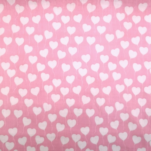 White on Baby Pink Hearts Polycotton