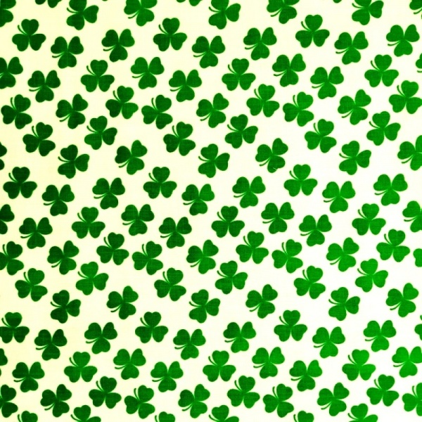 Green Shamrock on White Polycotton