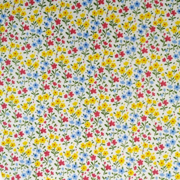 Small Yellow/Blue/Cerise Floral on White Polycotton