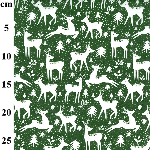 Christmas Polycotton REINDEERS & TREES on GREEN