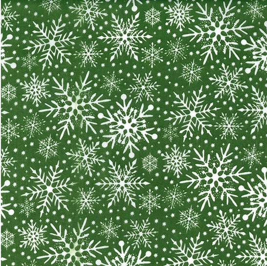 Snowflake Polycotton - Green