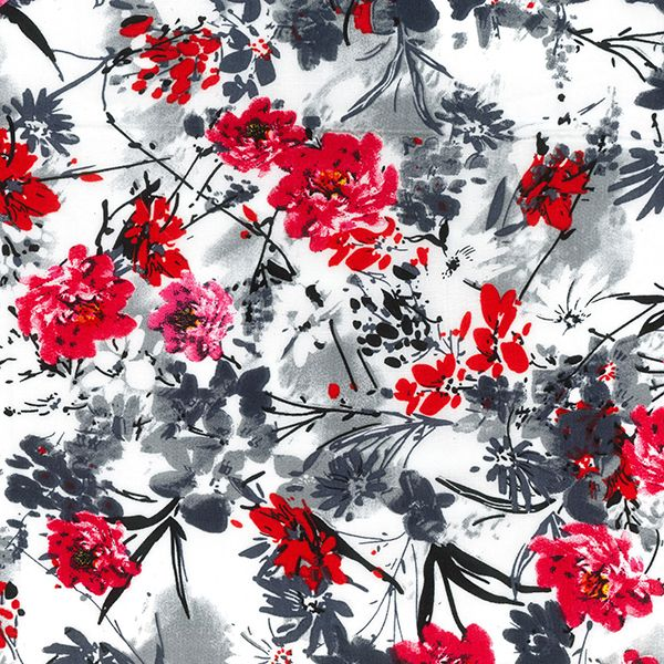 100% DIGITAL VISCOSE DESIGN 4 RED