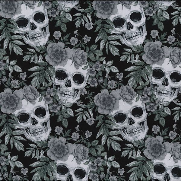 100% Cotton BLACK & WHITE SKULLS