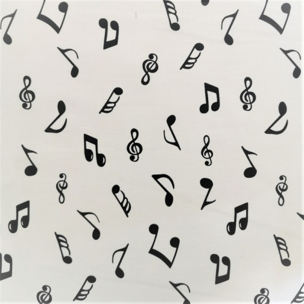 100% Cotton - Black on Ivory Musical Notes