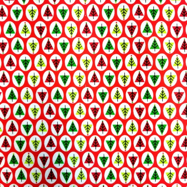 Christmas Polycotton TREES ON RED